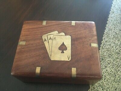 Vintage Wooden Playing Card Box - Equestrian Theme 4.5 l x 3.5 w 1.5 d inches