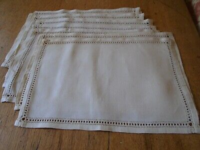 Unused Set Of 8  Vintage Pure Irish Linen   Table Mats