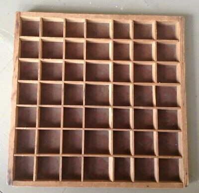 """Small Vintage Wooden Printer's Tray Shadow Box Drawer 12.5""""X12.5"""""""
