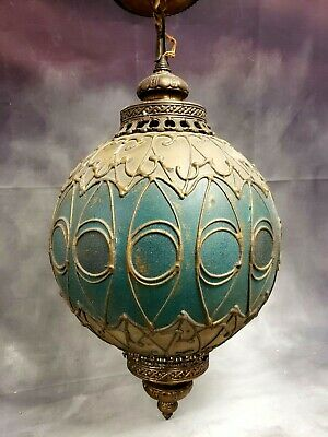 "AMAZING Leaded Stained Painted Glass 24"" Lantern Lamp Shade Ceiling Light Vtg"