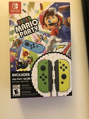 Super Mario Party (Nintendo Switch, 2018) with Neon Green and Neon Yellow...