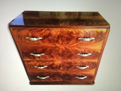 Commode Art Deco en loupe d'acajou