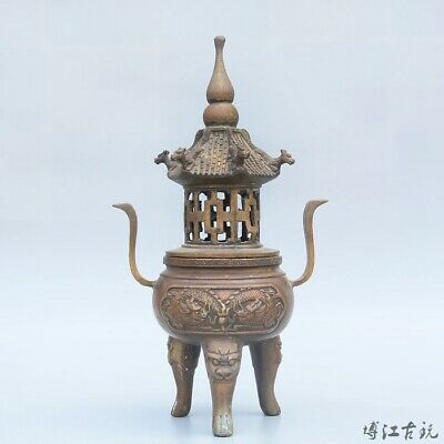 Collectable China Old Bronze Hand-Carved Myth Dragon Auspicious Pagoda Censer