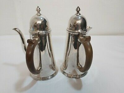 A Pair Of Antique Silver Plated Chocolate Pots By Mappin And Webb.late 1800.s.