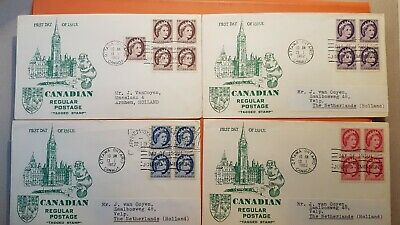 Canada 1962 Fdec 4 X Regular Postage Tagged Stamps 1,3,4,5 Cents Queen Elisabeth