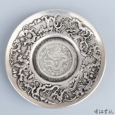 Collectable China Old Miao Silver Hand-Carved Myth Dragon & Bat Auspicious Dish