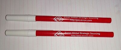 Enron Stick Pens - Lot Of 2 - Rare Unused - Enron Global Strategic Sourcing