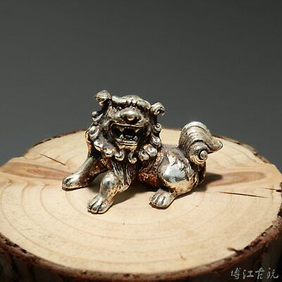 Collectable China Old Miao Silver Hand-Carved Myth Lion Moral Auspicious Statue