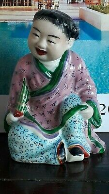 Vintage Chinese Porcelain Sitting Smiling Child Figurine Hand Painted Seal