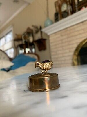 Vintage Brass Mini Duck w/ Purple Egg Tape Measure