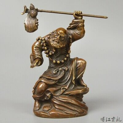 Collect China Old Bronze Hand-Carved Master Of Zen Moral Exorcism Decor Statue