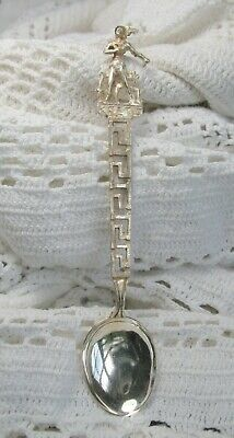 "Vtg  KRETA (Crete) ~ THESEUS Souvenir Spoon in 800/1000 Silver ~ 4-5/8"" ~ Greece"