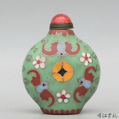 Collect China Old Cloisonne Hand-Carved Bloomy Flower & Bat Luck Snuff Bottle