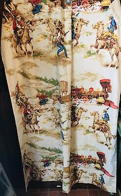Vintage Cowboy Curtains Horses 44 By 58 Long 2 Panels
