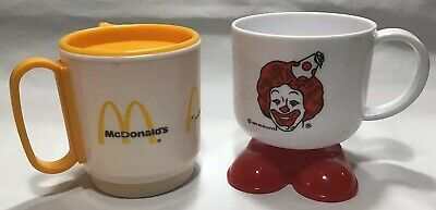 Vintage Lot Of 2 McDonalds Travel Coffee Cup Ronald McDonald Feet Whirley Ind