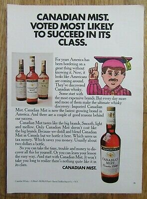 "1970 CANADIAN MIST Canadian Whisky ""Most Likely To Succeed In Class"" Magazine Ad"