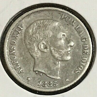 Philippines 10 Centimos Silver KM 148 XF 1885