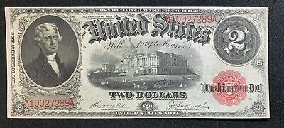 1917 $2 United States Note CH AU+ FR 57 Red Seal s/n A10027289A Mr. C