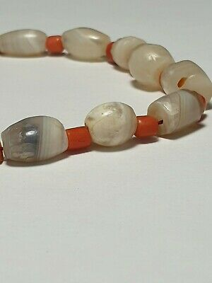 Ancient Rare Patinized Agate, Banded Agate, Coral Necklace Beads.