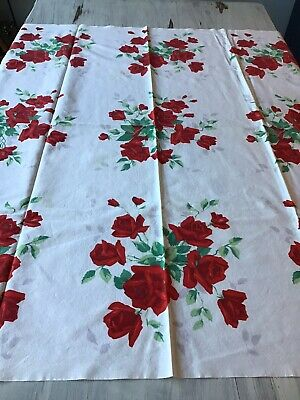 "Vintage WILENDUR ROYAL RED ROSE  48x38"" Tablecloth & 4 Napkins"
