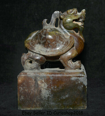 """6"""" Old China Han Dynasty Hetian Jade nephrite Carved Dragon Turtle Seal Signet"""