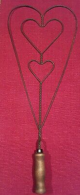 Vintage/Antique Primitive Triple-Heart Twisted Wire Rug Beater w/Wooden Handle