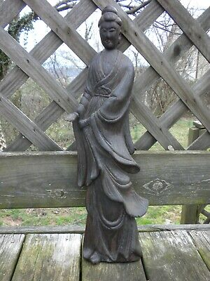 Carved Wood Asian Religious Figure Wall Plaque 22 in.
