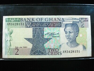 GHANA 2 CEDIS 1980 SHARP 51# Currency Bank Money Banknote