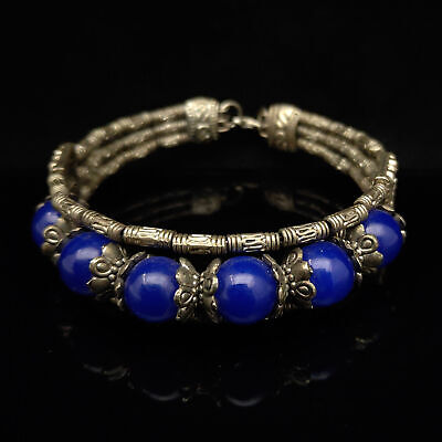 Chinese antique Collection Handmade Tibetan silver inlaid sapphire Bracelet