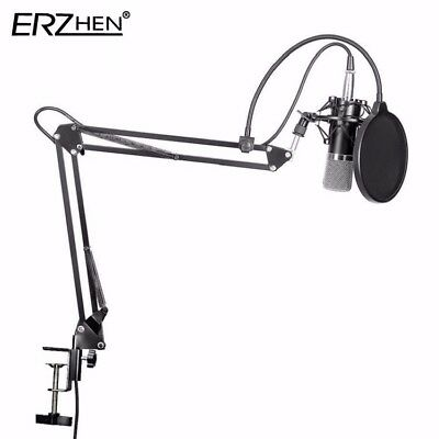 Broadcasting Audio Condenser Microphone w/Mic Suspension Recording Arm Stand Kit