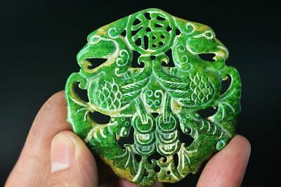 Delicate Chinese Old Jade Carved Two-Sided *Bat/Phoenix* Pendant B49