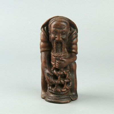 Chinese Exquisite Handmade bamboo Old people statue