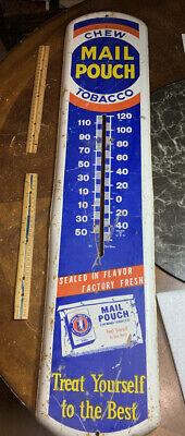 """Vintage Large Mail Pouch Chew Tobacco Thermometer Sign, 38.5"""" X 8.25"""" Inches"""
