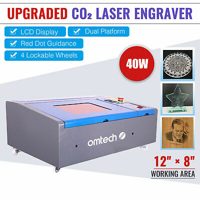 "CO2 Laser Engraver Engraving Cutting 8X12"" 40W LCD Red Dot Pointer USB Port New"