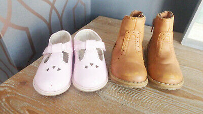 ** 1 x Baby Girl Pink Patent Shoes 1 x Brown Boots (UK Infant 4) **
