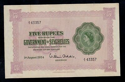 SEYCHELLES  5  RUPEES  1954  PICK # 11a  VERY FINE.