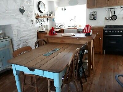 Vintage Retro Old Pine Kitchen Table With Drawer