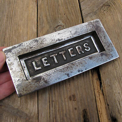 Antique Cast Iron Letter Box Plate / WORKING SPRING Door Mail Slot Mailbox