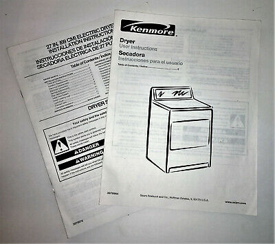 Kenmore Dryer User Manual and Installation Instruction Booklet 39799786