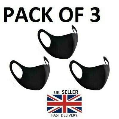 Pack of 3 Reusable Washable Breathable Face Masks Black Mask