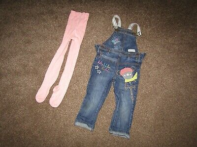 Girls Next dungarees (3-4 years) and pink tights (4-5 years)