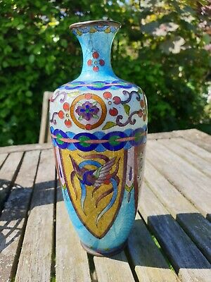 Japanese Ginbari Cloisonne Vase With Dragon And Exotic Bird, Signed