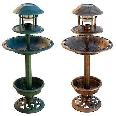 Bird Hotel Feeder & Bath With Solar Light Garden Ornamental Birds Table Station