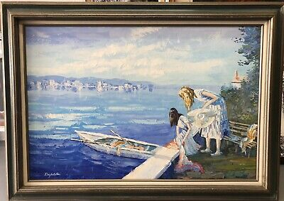 American Impressionist School - Large Oil On Canvas Signed - On The Shoreline