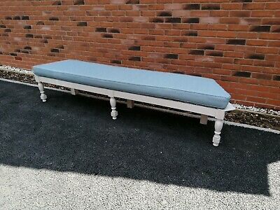 Painted Vintage Long Bench With Extra Large Cushion.