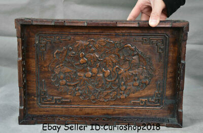 """13.4""""Antique Old Chinese Huanghuali Wood Carved Dynasty Palace Gourds Plate Tray"""