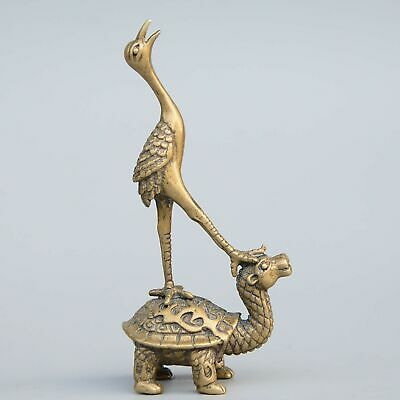 Collect China Antique Bronze Hand-Carved Crane & Dragon Turtle Bring Luck Statue