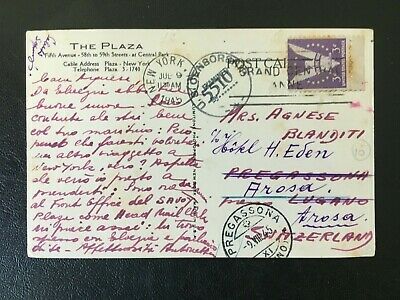 Usa 1945 Censored Postcard The Plazza New York Posted To Switzerland