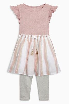 Bnwt Next Pink Ruffle Sleeve Dress And Leggings Set Size 10 Years