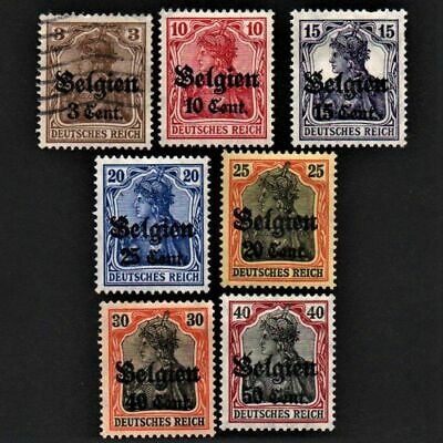 OLD STAMPS DEUTSCHES REICH GERMANY X 7 cv£8.40 BELGIUM OCCUPATION COLLECTION